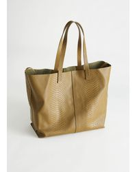 & Other Stories Snake Embossed Leather Tote Bag - Natural