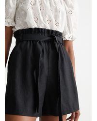 & Other Stories Belted Linen Shorts - Black