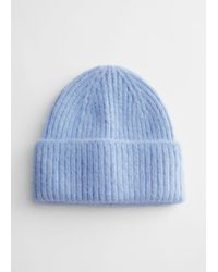 & Other Stories Fuzzy Wool Blend Beanie - Blue