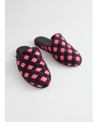 & Other Stories Pink Check Open Slippers - Red