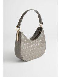 & Other Stories Croc Embossed Leather Shoulder Bag - Multicolor