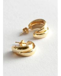 & Other Stories Chunky Layered Open Hoop Earrings - Metallic