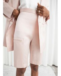 & Other Stories High Waisted Satin Bermuda Shorts - Orange