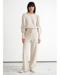 & Other Stories Wide Belted Cotton Lounge Pants - Natural