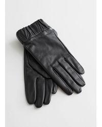 & Other Stories Ruched Cuff Leather Gloves - Black