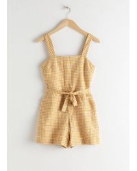 & Other Stories Square Neck Linen Romper In Yellow Gingham