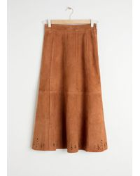 & Other Stories Pleated Suede Midi Skirt - Yellow