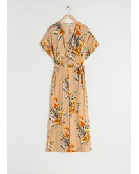 & Other Stories Tropical Print Wrap Jumpsuit - Natural