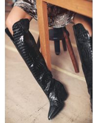 & Other Stories - Patent Croc Knee High Cowboy Boots - Lyst