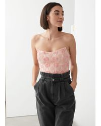 & Other Stories Sleeveless Lace Bustier - Pink