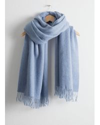 & Other Stories Oversized Wool Scarf - Blue