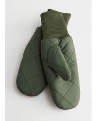 & Other Stories Diamond Quilted Mitten Gloves - Green