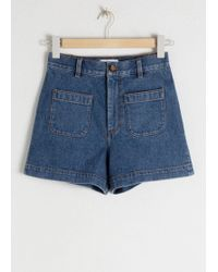 & Other Stories High Waisted Denim Shorts - Blue