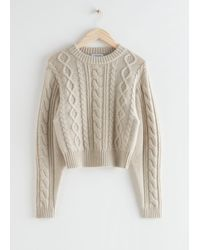 & Other Stories Short Fitted Cable Knit Jumper - Natural