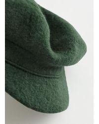 & Other Stories Wool Baker Boy Cap - Green