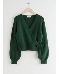 & Other Stories Wrap Cardigan - Green