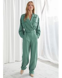 & Other Stories Belted Oversized Jumpsuit - Green