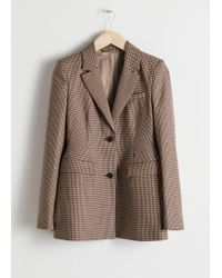 & Other Stories Hourglass Houndstooth Blazer - Natural