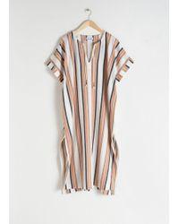 & Other Stories Linen Blend Striped Kaftan - White