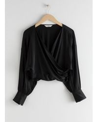 & Other Stories Draped Satin Wrap Blouse - Black
