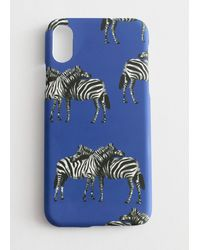 & Other Stories Zebra Print Iphone Case - Blue
