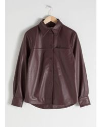 & Other Stories Leather Button Up Shirt - Red