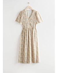 & Other Stories Flutter Sleeve Midi Dress - Natural