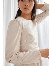& Other Stories Embroidered Scallop Peplum Blouse - White