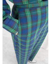 & Other Stories Wool Blend Plaid Pants - Green