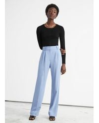 & Other Stories Straight High Waist Trousers - Blue