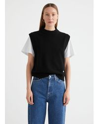 & Other Stories Relaxed Wool Knit Vest - Black