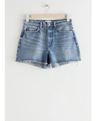& Other Stories High Rise Cut Off Jeans Shorts - Blue