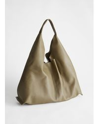 & Other Stories Smooth Leather Tote Bag - Green