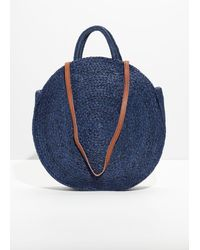 & Other Stories Straw Circle Bag - Blue