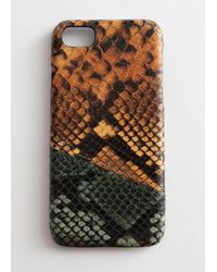 & Other Stories Leather Snake Print Iphone Case - Orange