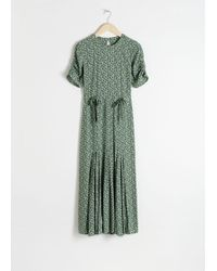 & Other Stories Open Back Floral Midi Dress - Green