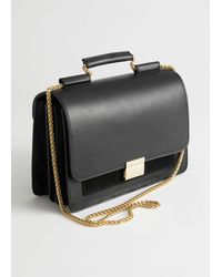 & Other Stories Leather Chain Strap Crossbody Bag - Black