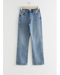& Other Stories Straight Mid Rise Organic Cotton Jeans - Blue