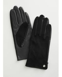 & Other Stories Suede Leather Gloves - Black