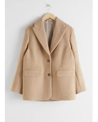 & Other Stories Oversized Wool Blend Tailored Blazer - Brown