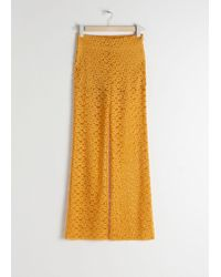 & Other Stories Floral Lace Flared Pants - Yellow
