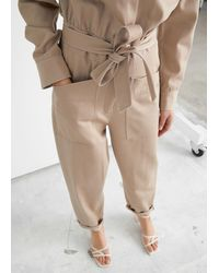 & Other Stories Belted Buttoned Patch Pocket Jumpsuit - Natural