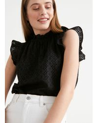 & Other Stories - Frilled Broderie Anglaise Blouse - Lyst