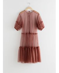 & Other Stories Sheer Mesh Ruffle Tier Midi Dress - Natural
