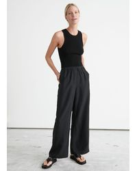 & Other Stories Relaxed Silk Pants - Black