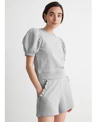 & Other Stories Fleece-Shorts Mit Gerüschten Taschen - Grau