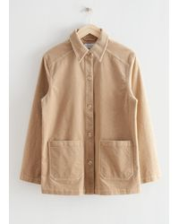& Other Stories Relaxed Patch Pocket Corduroy Jacket - Natural