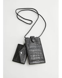 & Other Stories Croc Embossed Leather Neck Wallet - Black