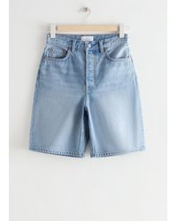& Other Stories Spark Cut Denim Shorts - Blue