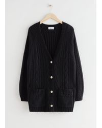 & Other Stories Oversized Chunky Cable Knit Cardigan - Black